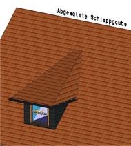 Bei der abgewalmten Schleppgaube erfolgt die Lastabtragung auf das Hauptdach.