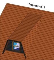 Die einfachste Konstruktionsart der Trapezgaube wird mit Kehlbohlen ausgeführt. Innen bietet sie nicht mehr Raum als eine vergleichbare Schleppgaube.